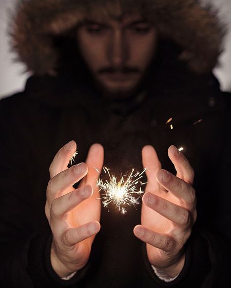You believe me ? One Person Holding Front View Adults Only Burning Flame Human Hand Fingernail Only Women Indoors  One Woman Only People Night Close-up Adult Sparks Sparkle Magic Trip ArtWork Artistic Mood Power Of Photography The Creative - 2018 EyeEm Awards Capture Tomorrow