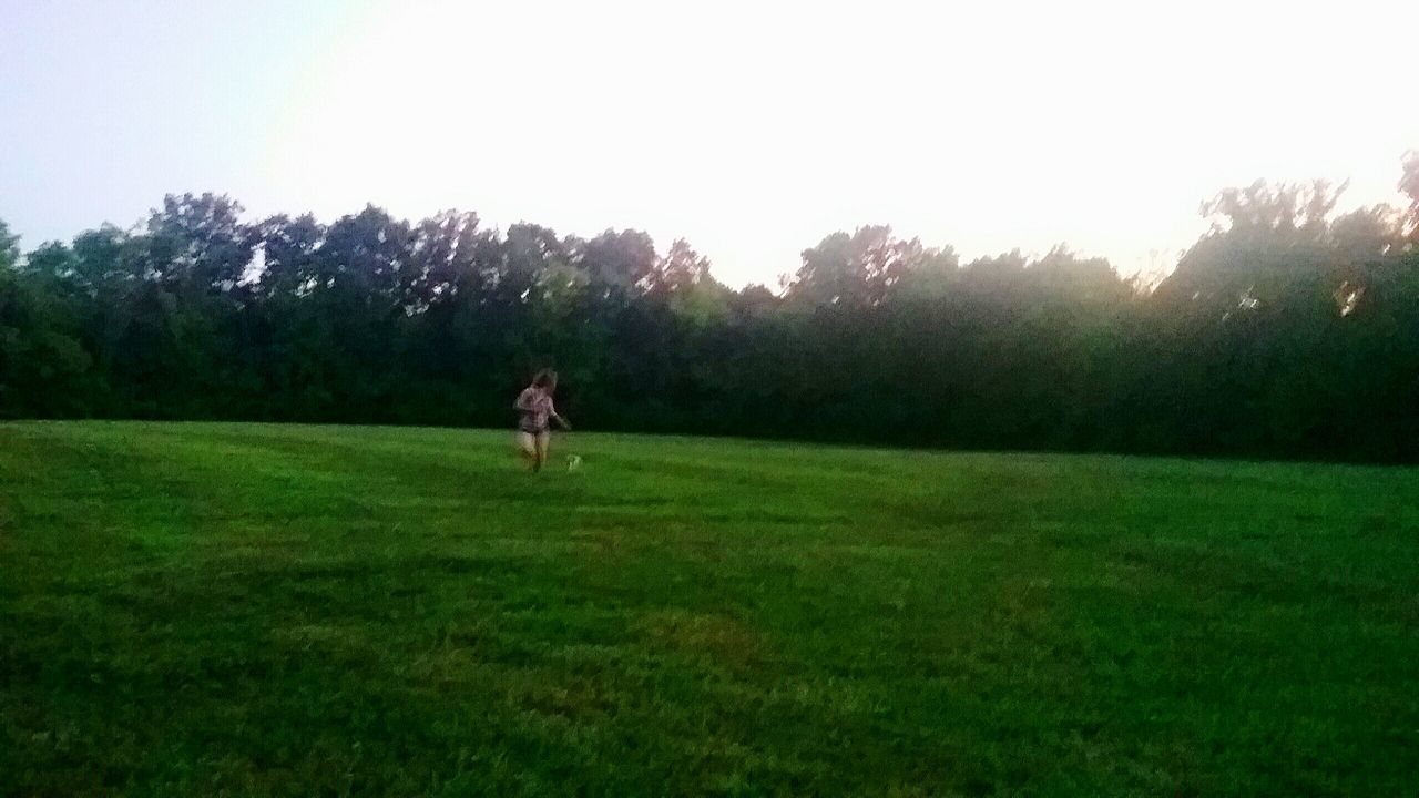 grass, tree, field, nature, growth, green color, outdoors, tranquility, one person, tranquil scene, day, full length, clear sky, sunset, landscape, real people, beauty in nature, animal themes, sky, young adult, people