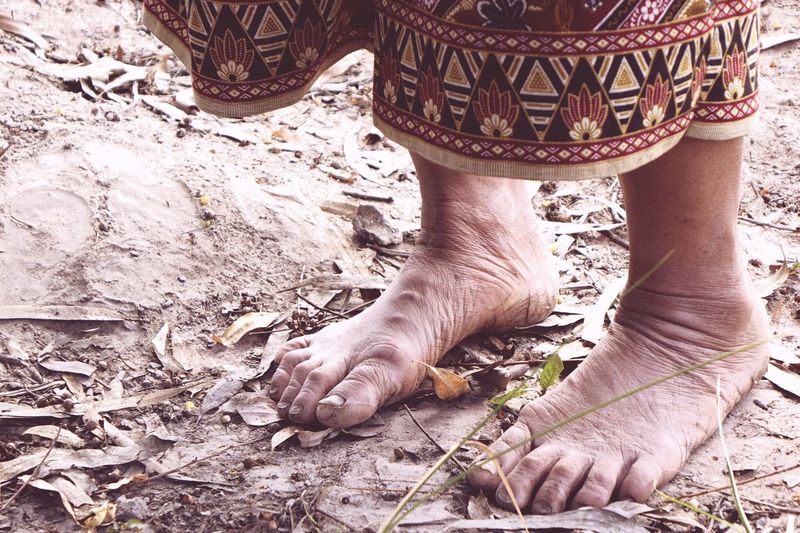 Feet Foot No Shoes Standing Trying Poorpeople On The Earth Feel Earth Feel Free Touching Feeling Old Woman Feet Keep Standing Asian  Thai Fabric Pattern Thai Pattern Fabric Garment Culture Girl Power Two Is Better Than One