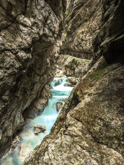 River in the Höllentalklamm in Bavaria Alpine Photography Alpine Landscape Alpine Hiking Alpine Brook River View Long Exposure Waterfall Hiking Trail Alpen Garmisch-partenkirchen Bavarian Alps River Travel Destinations Höllentalklamm Alps Power In Nature Water Nature Day Sunlight No People Tree Beauty In Nature High Angle View Tranquility Outdoors Rock Tranquil Scene