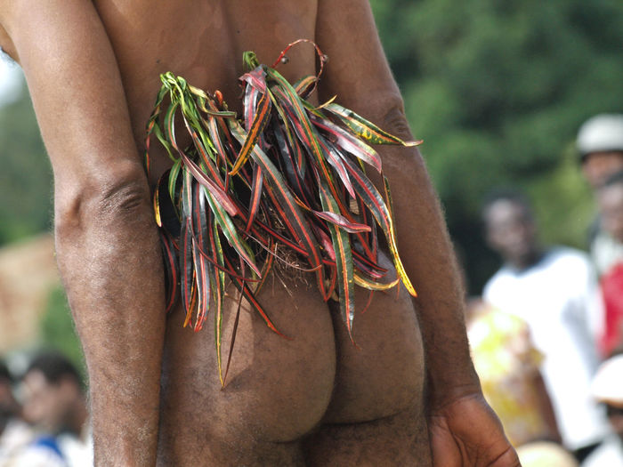Rear view of naked man with leaves during ceremony