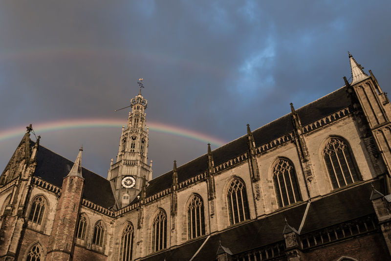 Architecture Cathedral Church Cloudy Double Rainbow Double Rainbows Exterior Gothic Grote Markt Haarlem Low Angle View Overcast Rainy Days Religion Sint Bavo Sint Bavokerk The Architect - 2017 EyeEm Awards EyeEm Selects