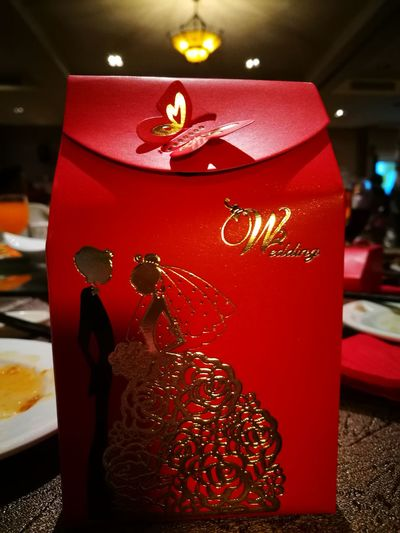 Wedding Dinner Token Red Indoors  No People Close-up Day