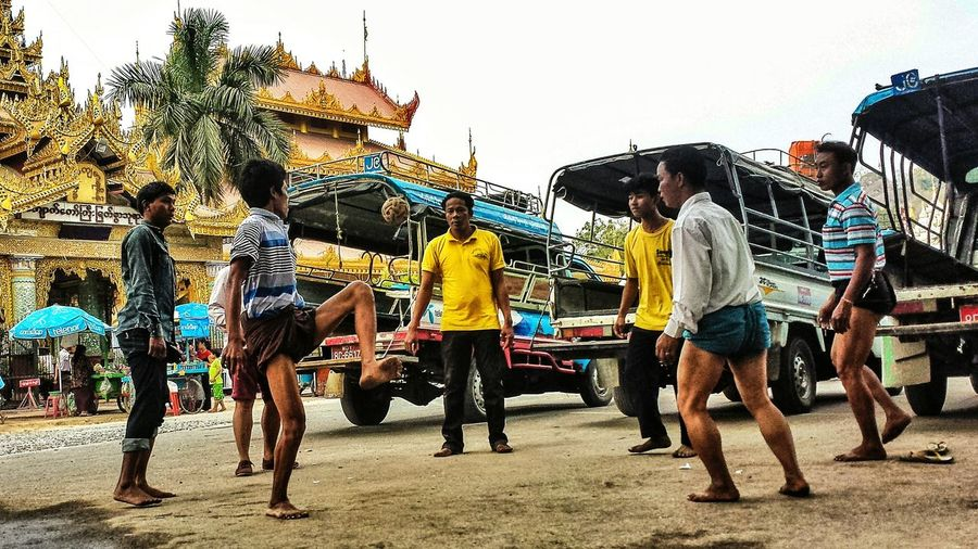 Cane Ball Pickup Truck Taxi Outdoors Southeast Asia Central Myanmar Central Burma ASIA Burma Afternoon Low Angle Sport Killing Time မန္တလေး မြန်မာ Mandalay Region The Color Of Sport