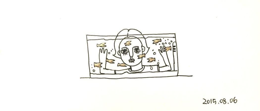 Fish Fishbowl Gold Golden Girl Drawing Draw Sketch Illustration