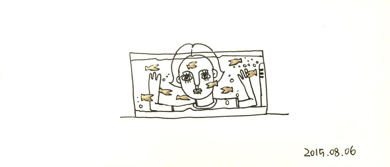 Fish Fishbowl Gold Golden Girl Drawing Draw Sketch Illustration