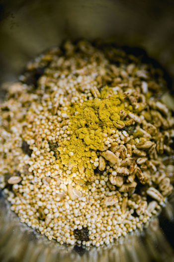 Asian Food Breakfast Close-up Dried Food Flower Food Food And Drink Freshness Healthy Eating Heap Herb Indian Food Indoors  Ingredient Nature No People Plant Seed Selective Focus Snack Spice Wellbeing Yellow