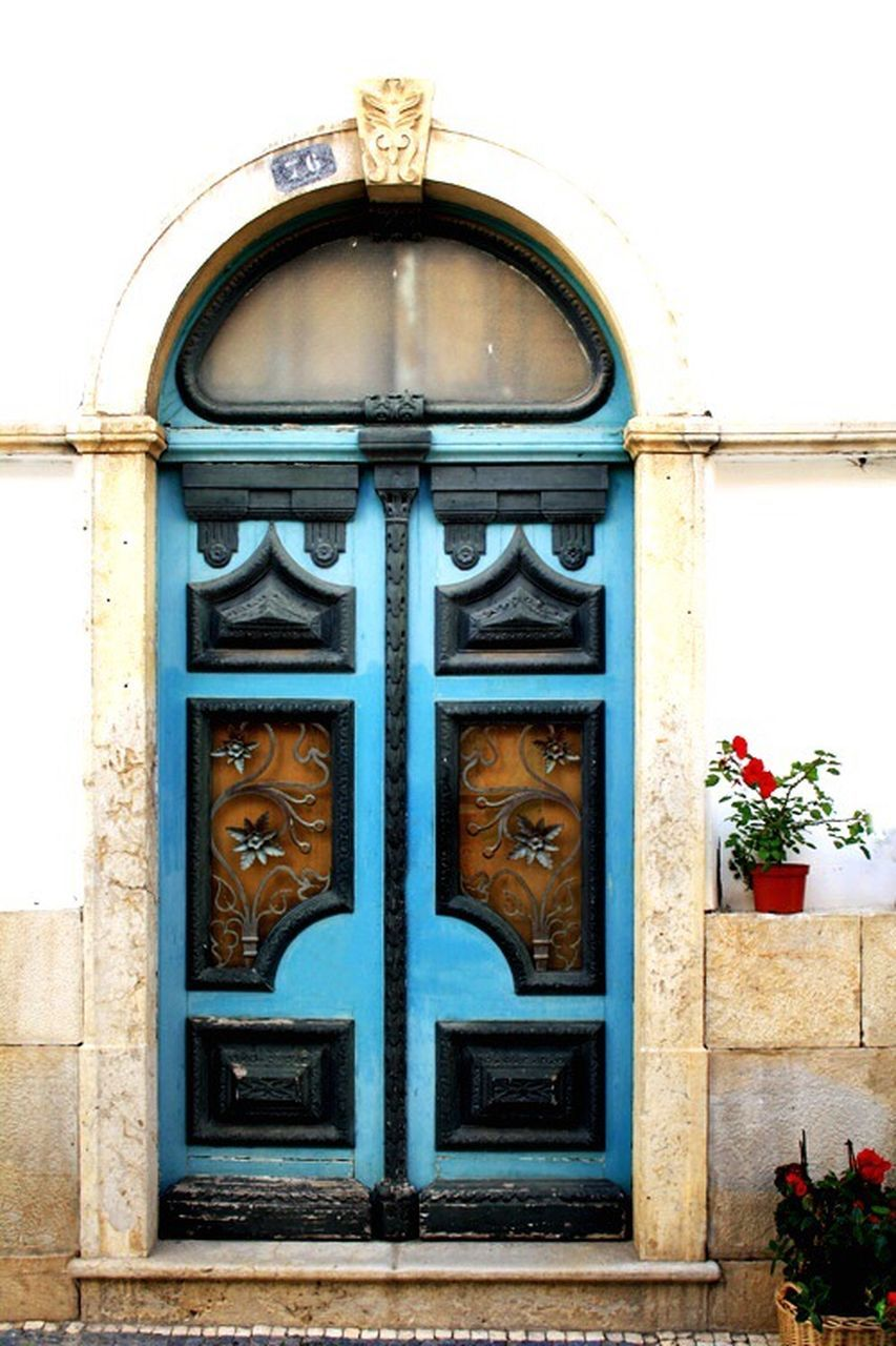 door, outdoors, building exterior, no people, day, facade, blue, architecture, flower, close-up