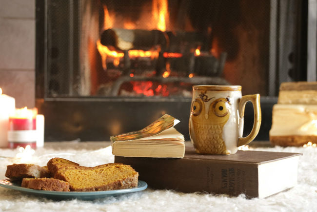 Firetime with pumpkin bread Flame Christmas Heat - Temperature No People Burning Tradition Winter Old-fashioned Gourmet Food Close-up Christmas Lights Christmas Winter Cold Cozy Coffee Cup Mug Cup Pumpkinbread