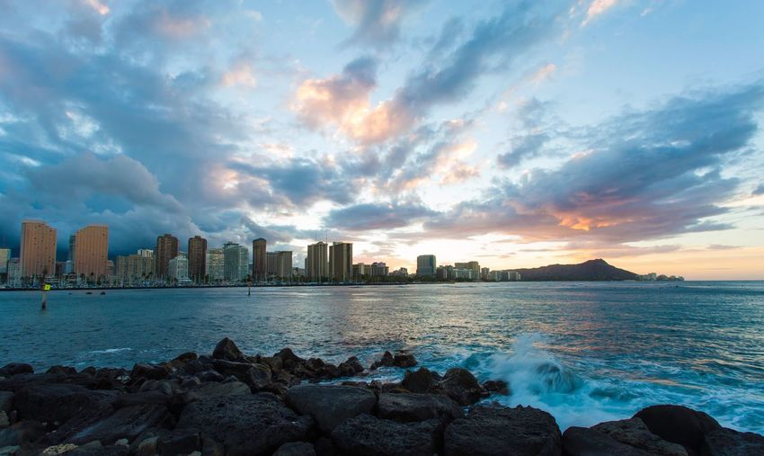 love and piece Sky Cloud - Sky Sea Water Sunset City Scenics Travel Destinations Hawaii