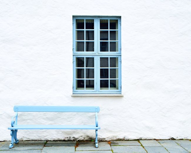 Architecture Bench Bergen Blue Building Exterior Built Structure Day House No People Norway Outdoors Plaster White Window