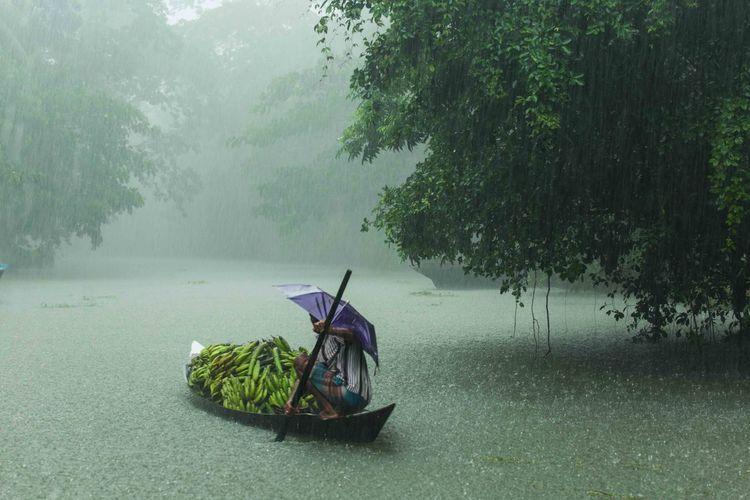 Boat on wet land during rainy season