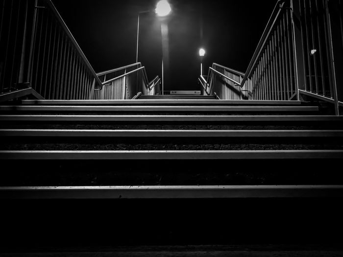 Lines everywhere! At Wentworth Falls Train Station. Illuminated Night Steps Steps And Staircases Railing Staircase Indoors  Hand Rail No People Architecture Blackandwhite Black And White Black & White Blackandwhite Photography Black And White Photography Black&white Blackandwhitephotography