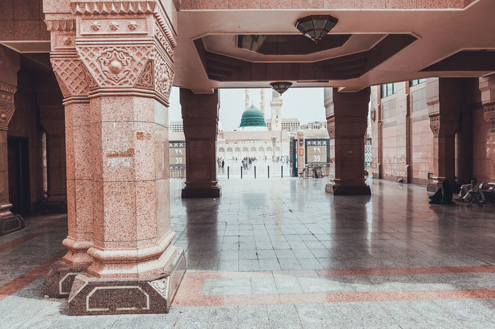Architecture Masjidil Nabawi Madinah Architectural Column Architecture Built Structure Corridor Day Green Dome History Indoors  Islamic Architecture Mosque No People