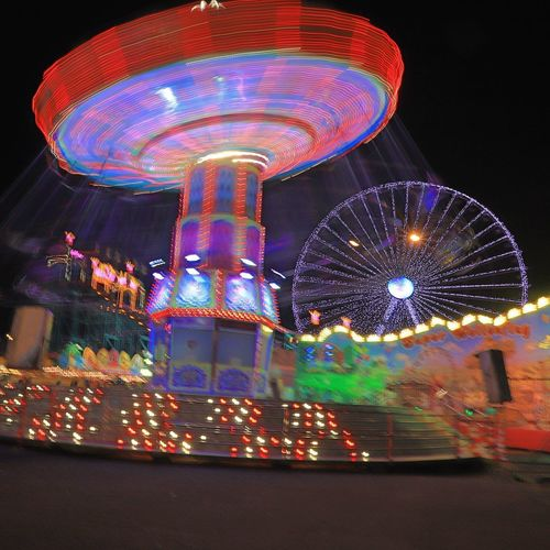luna park 2 Illuminated Amusement Park Amusement Park Ride Night Arts Culture And Entertainment No People Multi Colored Motion Long Exposure Ferris Wheel Carousel Luna Park Blurred Motion Spinning Speed Low Angle View Glowing Sky Outdoors Fairground Lighting Equipment