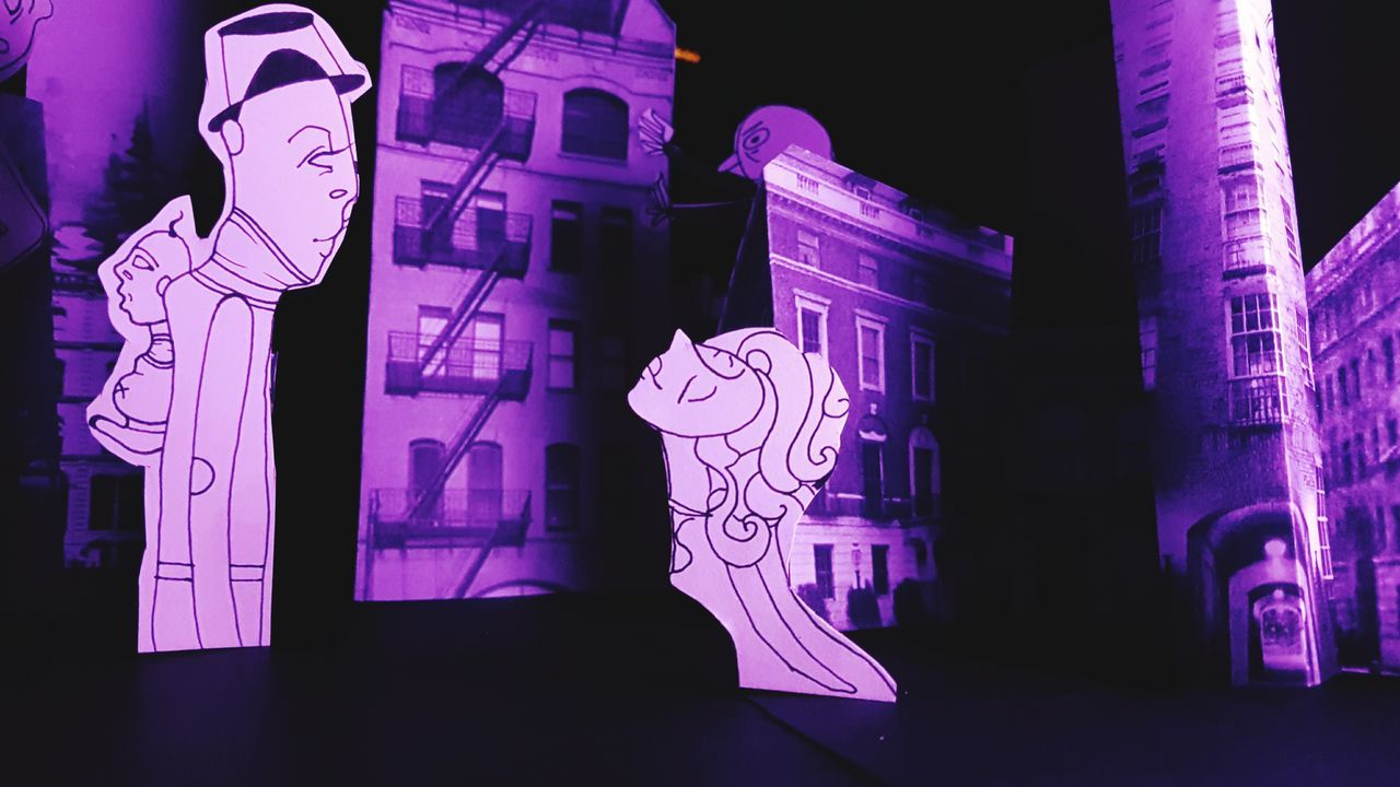 night, architecture, built structure, building exterior, pink color, sculpture, illuminated, outdoors, no people, close-up