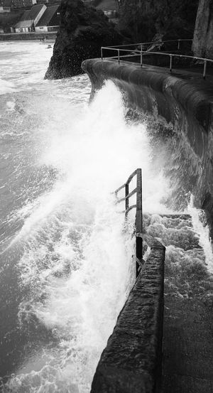 Tough steps Outdoors No People Waves, Ocean, Nature Waves Crashing Stairway To Heaven Atlantic Ocean Beauty In Nature B&wphotography Huawei P 9 SeaScapePhotography Harbour Wall Cornwalluk Sea Splashing Beauty In Nature Motion