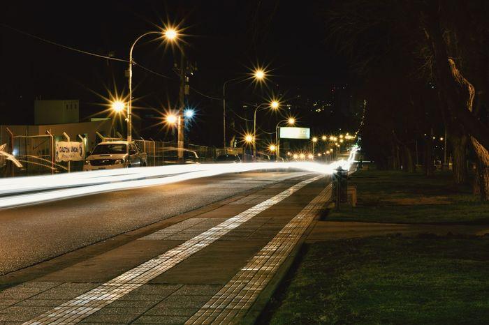 Neuquén at night Night Street Light No People Long Exposure Outdoors Light Trail Railroad Track Road Winter Illuminated EyeEmNewHere Newtalent NewToEyeEm