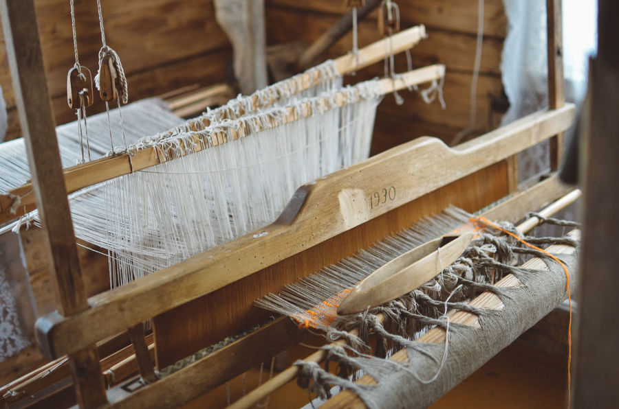Authentic historical machine for making textile Linen Texture Lithuania Lithuanian Countryside Old Technology Authentic Close-up Day Gadget History Indoors  Industry Lithuaniagirl Lithuanian Loom Manufacturing Equipment No People Textile Textile Industry Weaving Wood - Material Work Tool Workshop