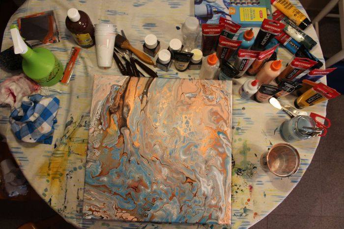 Close-up Day High Angle View Indoors  No People Oil Paint Paintbrush Palette Table Work Tool