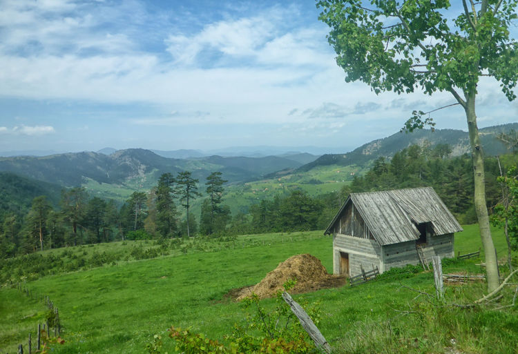 Beautiful Beautiful Nature Nature Nature Photography Rural Rural Scenes Serbia Agriculture Countryside Grass Green Color House Hut Landscape Mountain Mountain Range Nature Nature_collection No People Rural Scene Scenics Sky Tranquil Scene Tranquility Zlatibor