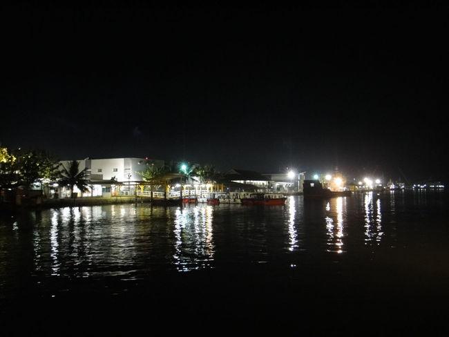 Night Lights when passing Bravo - 4, Total E&P Indonésie Handil 2 Base, Kalimantan Kalimantan Timur INDONESIA