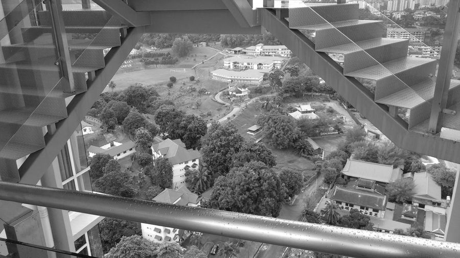 High angle view of built structure