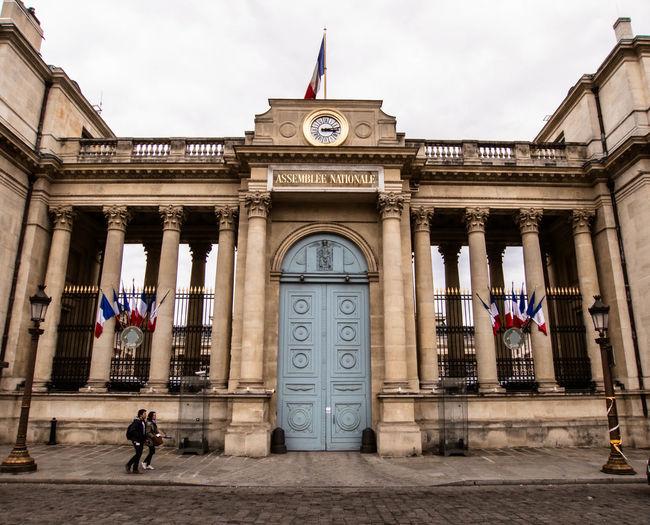 Paris, Assemblée Nationale Architectural Column Architecture Art Building Building Exterior Built Structure Columns Flag France French Flag Historical Building History Paris Parliament People Real People