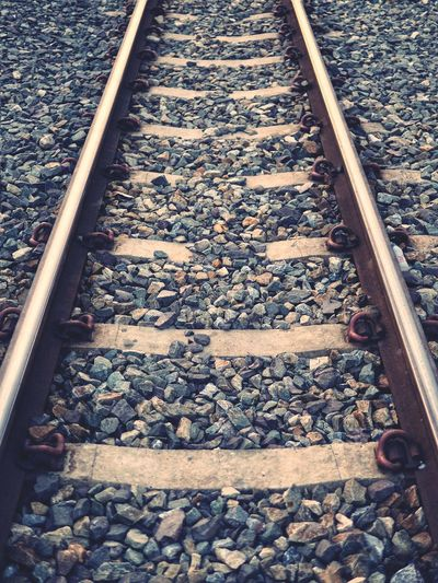 High angle view of railroad track