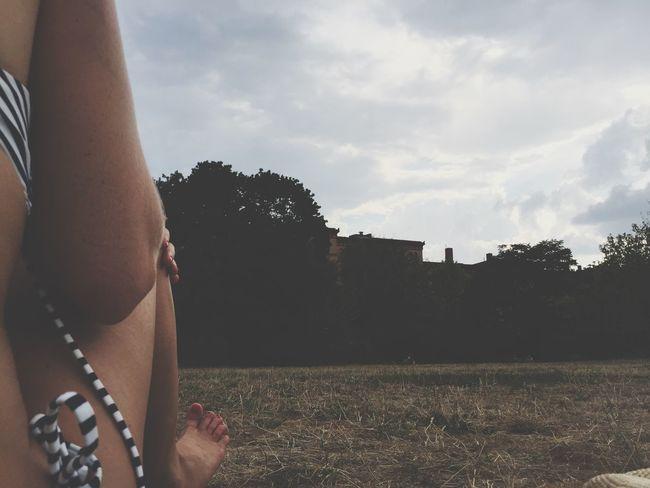 Grass Bikini Girl Vacation Park Sunbathing Europe Blonde Swimsuit City Escape