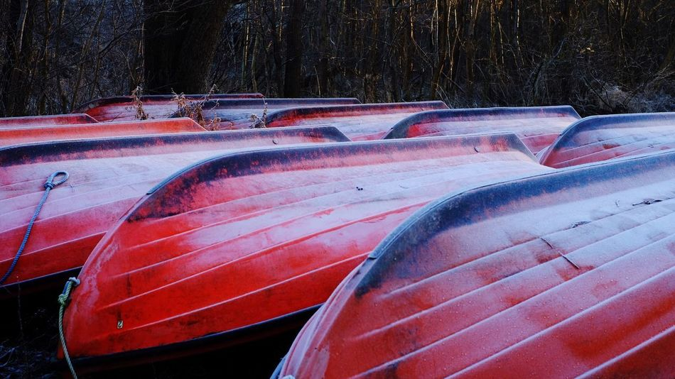 Boats 🚣‍♀️ Season  Waiting Sport Copy Space Winter Boats Car Motor Vehicle Mode Of Transportation Transportation Land Vehicle No People Stationary Cold Temperature Windshield Close-up Day Outdoors High Angle View Nature Winter Red Communication In A Row Snow