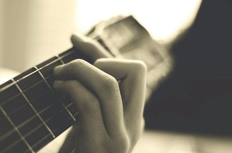 Guitar Guitar Strings Guitar Cord Hand Finger Close Up Monochrome Black & White