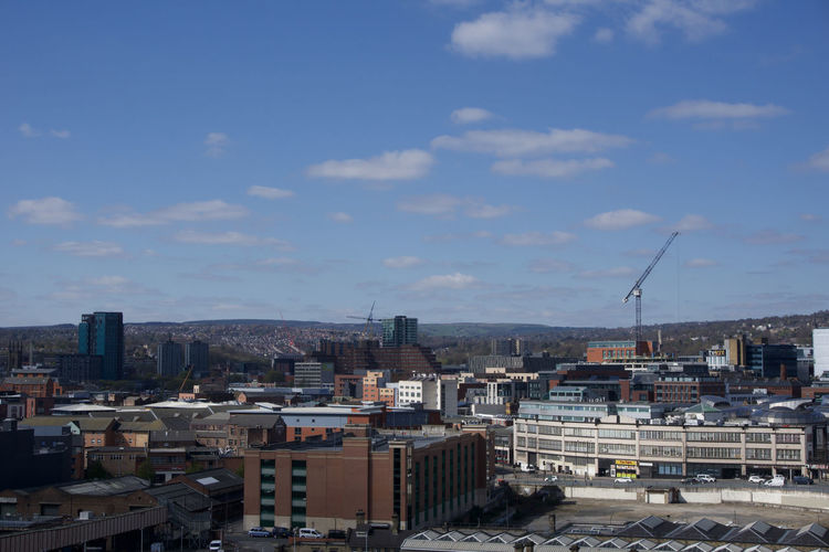 View across Sheffield City Centre from park Hill Sheffield Building Exterior Architecture Built Structure Sky City Cloud - Sky Building Residential District Cityscape Nature Crowded Day High Angle View Outdoors Sunlight City Life Community Roof Skyscraper Settlement TOWNSCAPE