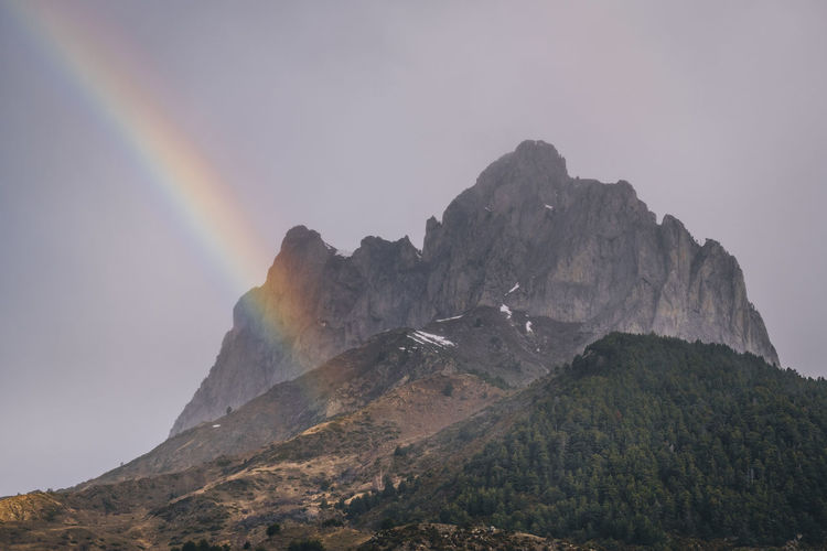 Low angle view of rainbow over mountains against sky