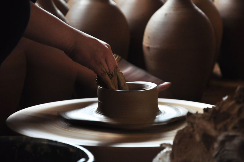making ceramics process from clay to a jar. Brown Ceramics Clay Claypot Close-up Focus On Foreground Indoors  Jar Makingoff People And Places Person Personal Perspective Process Purwakarta Still Life Table