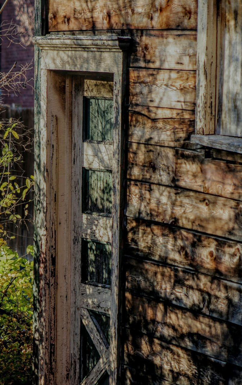 door, abandoned, damaged, window, weathered, wood - material, no people, day, architecture, old ruin, plant, open door, outdoors, close-up, building exterior