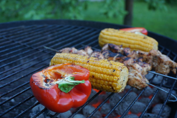 Close-up of food on barbecue grill at back yard