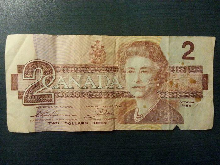 Money Canadian 2 Dollar Bill Well Used Defunct $