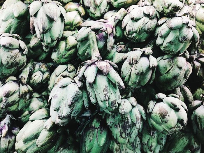 Full frame shot of artichoke for sale in market