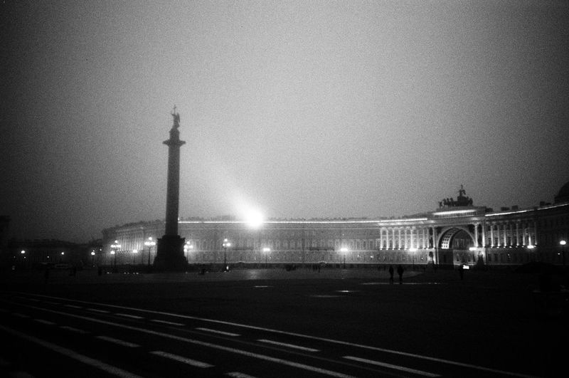 square Dvortsovaya Ploshchad Light Saint Petersburg Architecture Blackandwhite City Column Dusk Illuminated Night Sky