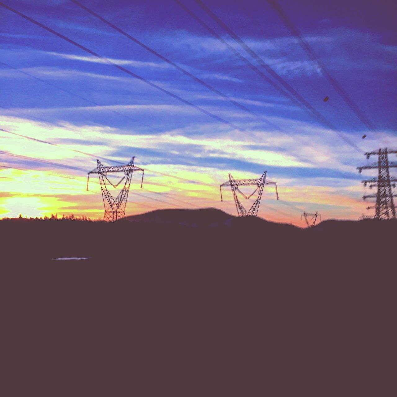 silhouette, sky, sunset, nature, cable, no people, tranquility, technology, scenics, outdoors, electricity, cloud - sky, electricity pylon, landscape, beauty in nature, day, tree