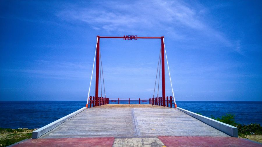 Fishing pear Sea Horizon Over Water Sky Water Tranquility Scenics Outdoors No People Day Dominican Republic Caribbean Latin Dominican Stockphoto Seascape Islandlife Fishing City Platform