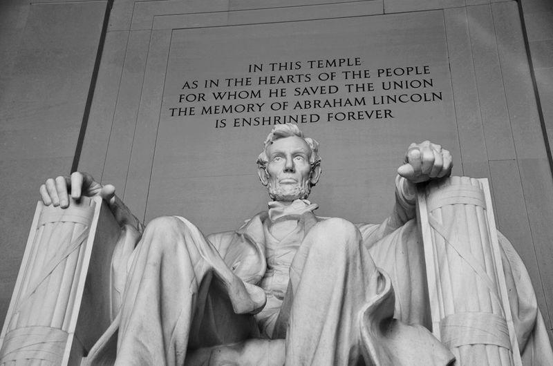 Abraham Lincoln Statue American National Monument Black & White Lincoln Memorial, Washington DC National Mall, Washington, DC No People Sculpture Statue