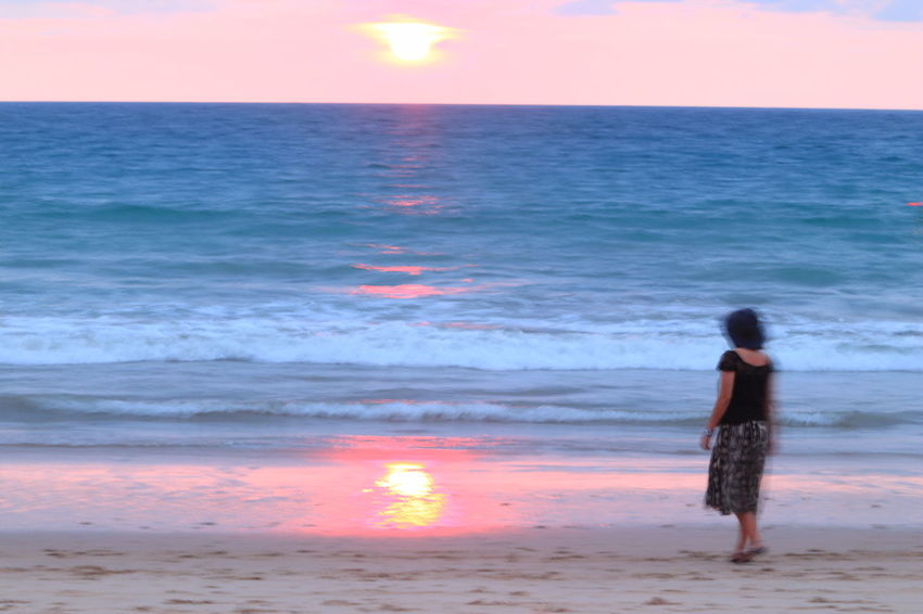 Women Around The World Sea Beach Horizon Over Water One Person Sunset Standing Water Rear View Tranquility Wave Vacations Scenics Tadaa Community Phuket Millennial Pink Long Goodbye Horizon Over Sea Live For The Story