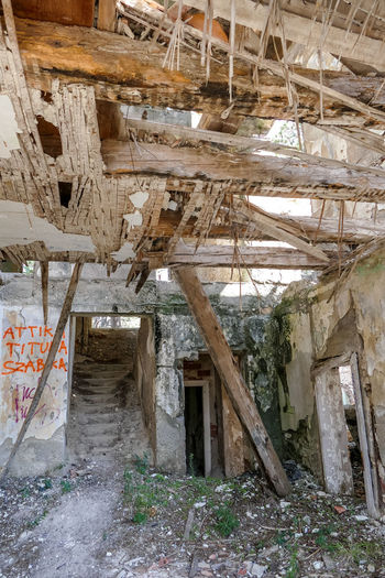 Architecture Built Structure Abandoned Building Damaged Run-down Obsolete Indoors  Old Wood - Material Day No People Decline Bad Condition Ruined Broken House Deterioration Destruction Messy Ceiling Dirty Collapsing Roof Beam Demolished