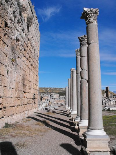 Blue History Travel Destinations Architecture City Outdoors No People Sky Day Historical Site Historical Monuments Stone Material Ruins Of A Past Ruins Still Beautiful Old Culture Pylons Rows Of Things Perge Aksu Antalya Turkey Architecture