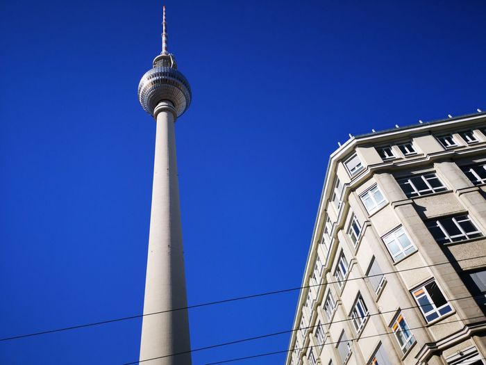 Berlin Alexanderturm City Blue Communication Clear Sky Cultures Tower Business Finance And Industry Broadcasting Sky Architecture Antenna - Aerial Television Aerial Communications Tower Urban Skyline Tall - High Cityscape Television Tower - Berlin Television Tower