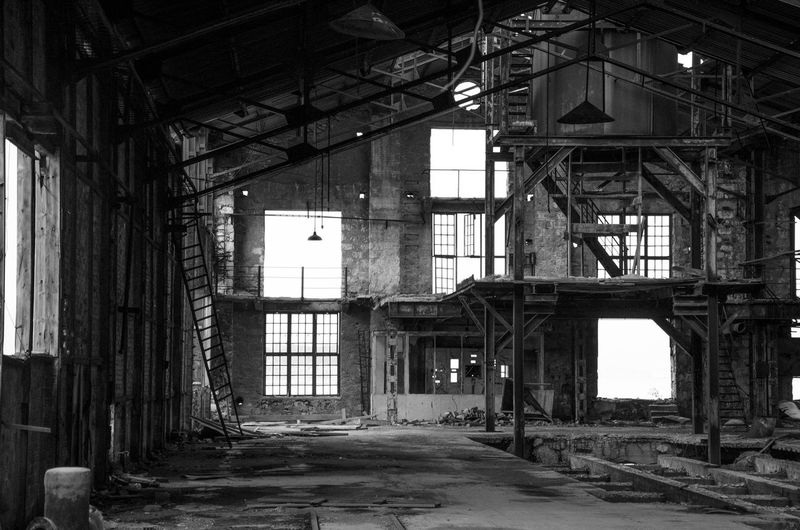 Black And White Old Factory Light And Shadow Abandoned Buildings