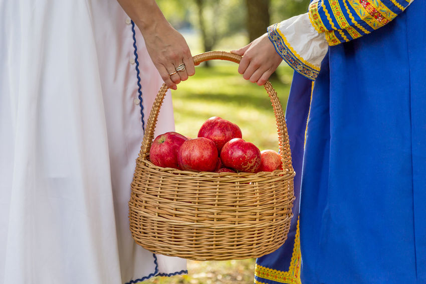 Mom and daughter carry a harvest of red apples in a wicker basket Agriculture Apple Bio Diet Eco Family Farm Gardener Rustic Vegetarian Apples Basket Food Fresh Garden Girl Harvest Healthy Eating Healthy Food Organic Picking Red Apple Ripe Straw Vegan Organic Farm Harvesting Farm Worker Homegrown Produce Farmer