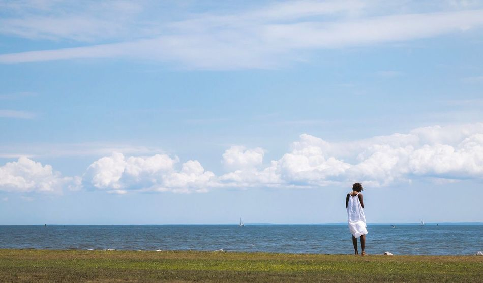 Sea Horizon Over Water Sky Cloud - Sky Water Scenics Nature Real People Day Standing Beauty In Nature Leisure Activity Outdoors Tranquil Scene Tranquility Beach Lifestyles Issa Issa Khari Canon EyeEmNewHere Connecticut